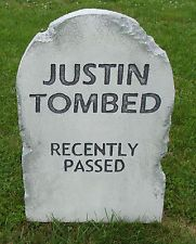 "Halloween 'Justin Tombed' tombstone prop decoration 24""x16""x2"""