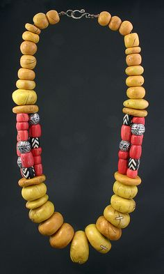 Necklace | Dorothy Siemens.  Polymer clay Faux Amber and Coral Necklace