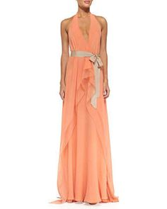 Belted+V-Neck+Halter+Gown+by+Donna+Karan+at+Neiman+Marcus.