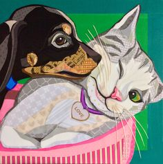 """Pooch Smooch"" Cut paper collage by Laura Yager - cat dog art, puppy kitten Cut Paper, Paper Cutting, Kitten, Cat, Pet Store, Dog Art, Pet Portraits, Art Images, Animals Beautiful"