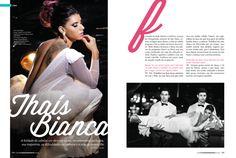 Página de abertura para a entrevista com a modelo Thaís Bianca.