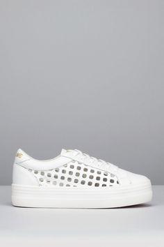 Sneakers compensées blanches cuir perforé Plato Link
