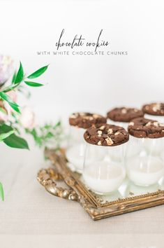 Chocolate cookies with white chocolate chunks