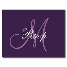 Simple Purple Wedding Monogram RSVP Post Cards