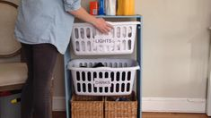 Transform an empty bookshelf into a gorgeous laundry basket station. ideas for small rooms diy videos DIY Laundry Basket Station Laundry Basket Shelves, Laundry Basket Holder, Laundry Basket Dresser, Laundry Room Organization, Laundry Room Design, Storage Baskets, Toy Storage, Storage Ideas, Stackable Laundry Baskets
