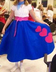 Wearing her heart on her skirt...
