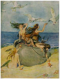 A Pretty Kettle of Fish 1927 by Oliver Herford, Vintage Mermaids and Sirens Siren Mermaid, Mermaid Art, Mermaid Book, Mermaid Lagoon, Vintage Fairies, Vintage Mermaid, Sirens, Victorian Illustration, Mermaid Illustration
