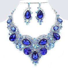 Royal Cobalt Blue Crystal Rhinestone Formal Wedding Bridal Prom Party Pageant Bridesmaid Evening Teardrop Collage Bib Necklace Earrings Set Elegant Costume Jewelry