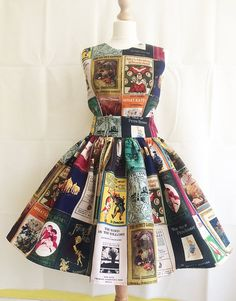 Book Covers Dress, Adult Literature Dress, Childrens Classic Book Covers, All Sizes By Rooby Lane - Work Dresses Look Fashion, Fashion Show, Fashion Outfits, Fashion Design, Dress Fashion, Fashion Tips, Recycled Dress, Recycled Fashion, Special Occasion Dresses