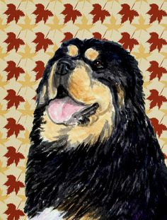 Tibetan Mastiff Fall Leaves Portrait Flag Garden Size