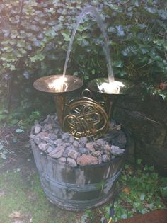 My newest garden addition - a French horn fountain.