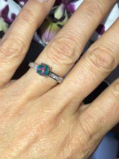 b9df81598 Black Opal Ring .33ct Genuine Diamonds Fashion Birthstone Anniversary Ring  gift Round Opal Ring White Gold Pristine Custom Rings