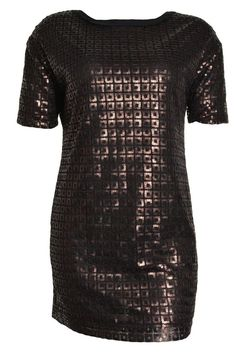 Ellen Tracy Filigree Shift Sequin Above Knee Dress Clubwear L Bronze Jewel NEW #EllenTracy #Shift #Clubwear