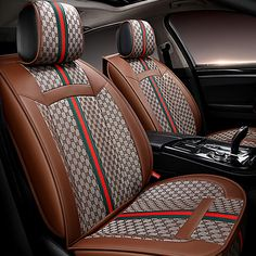 24258 Classic Leather GUCCI Print Car Seat Covers Universal Pads Automobile Cushions 6pcs