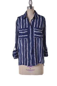 Set Sail Striped Button Down Blouse - Navy + White