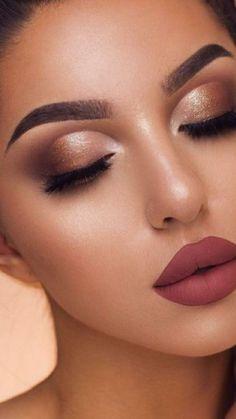 Pin by jasmine on make-up. Eyeshadow Makeup, Makeup Art, Hair Makeup, Bridal Makeup Looks, Wedding Hair And Makeup, Flawless Makeup, Gorgeous Makeup, Makeup For Burgundy Dress, Makeup With Gold Dress