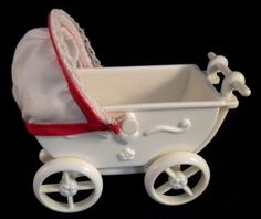 Simba Brand Doll Baby Carriage Dollhouse Size White with Red Trim Love #Simba