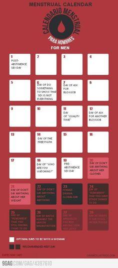 Menstrual calendar for men    LOL