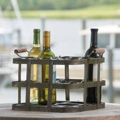 Nine Bottle Metal Crate Wine Rack