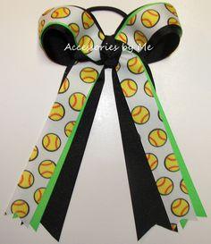 Softball Neon Green Black Ponytail Holder Bow