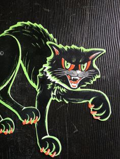 Fabulous retro Scratch Cat. This jointed cat is in great shape. He has one crease to his right paw. His hanging hole is unpunched. Dig those colors!!  You can barely see, Made in USA on his right leg, but if you look its there. Measures 8 3/4 h when fully articulated. 7 w.  Thanks for looking