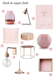 Blush and copper decor items. For inspiring Blush and Copper interiors see more here:http://blog.sampleboard.com/2014/07/29/blush-and-copper-colour-trend-mood-board/ #moodboard