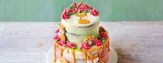 Vegan week, British bake off Two-tier Lavender & Lemon Curd Fox Cake Brown Food Coloring, Lavender And Lemon, Lavender Cake, Fox Cake, Icing Colors, British Baking, Great British Bake Off, Cake Board, Small Cake