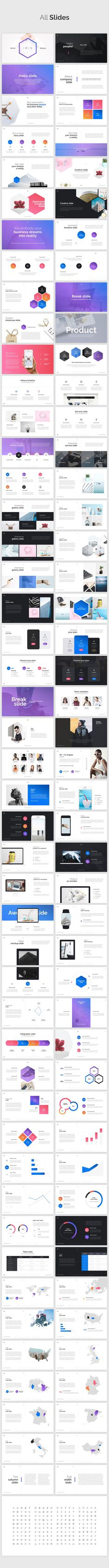IRIS Minimal PowerPoint Template with bold punches of color, including blue, purple, pink, and orange. Subtle gradients and flat design to emulate the latest iOS design guidelines. A great slide presentation template/theme for technology app startups.