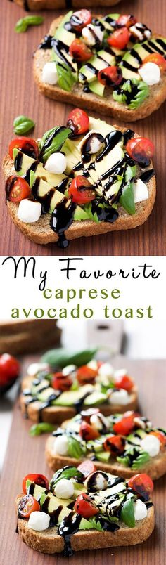 Caprese Avocado Toast is my go to, healthy snack! Full of good for you ingredien… Caprese Avocado Toast is my go to, healthy snack! Full of good for you ingredients, this snack is ready in 10 minutes and easy enough to feed a crowd! Healthy Breakfast Recipes, Healthy Snacks, Healthy Eating, Healthy Recipes, Clean Eating, Breakfast Ideas, Breakfast Toast, Avocado Breakfast, Vegetarian Snacks