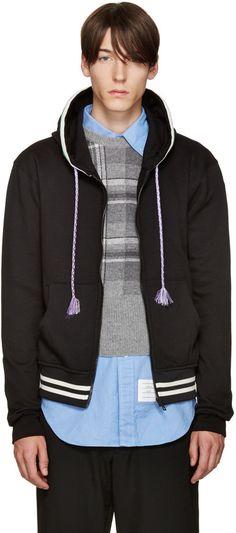 7360ad90f3 Raf Simons Black Striped Zip Hoodie Raf Simons Clothing, Winter Hoodies, Zip  Hoodie,