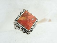 Large Chunky Sterling Silver 925 Orange Red Sponge Coral Bali Ring Size 8 #QVC #Statement #Birthday Sterling Jewelry, Gemstone Jewelry, Sterling Silver, Square Rings, Ring Shapes, Orange Red, Qvc, Wholesale Jewelry, Bali