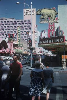 Las Vegas, 1960. Fremont at 1st. www.all-chips.com has chips for sale from here and hundreds of Las Vegas casinos... New and Old obsolete Las Vegas