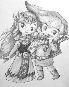 Young Link and Zelda! Link and Zelda Link Zelda, Zelda Drawing, Zelda Tattoo, Gamers Anime, Video Game Art, Video Games, Wind Waker, Black And White Drawing, High Fantasy