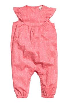 Cotton romper suit: Romper suit in a soft, patterned weave with a yoke at the top, short butterfly sleeves, buttons at the back of the neck, concealed press-studs at the crotch (only in sizes 4-12 months) and elasticated hems.