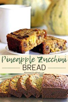Zucchini Pineapple Bread-Homemade Food Junkie Vegan Kitchen, Kitchen Recipes, Snack Recipes, Dessert Recipes, Cooking Recipes, Bread Recipes, Muffin Recipes, Cake Recipes, Unique Desserts
