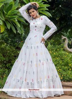 Cotton Printed Designer Gown in White Designer Anarkali, Designer Gowns, Salwar Kameez, Kurti, Churidar, Cotton Anarkali, White Chiffon, White Cotton, Green Cotton