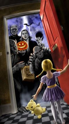 The Universal Monsters go trick-or-treating on Halloween night.