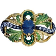 Art Nouveau Sapphire Diamond Enamel Gold #brooch | From a unique collection of vintage brooches at https://www.1stdibs.com/jewelry/brooches/brooches/ #GoldJewelleryUnique #goldbrooches