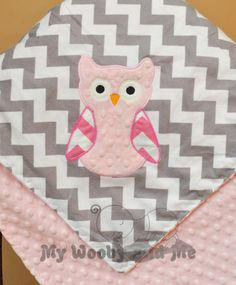 Personalized baby Blanket - Minky baby Blanket - You Choose Fabrics and Colors - Applique owl and name Included - Size Choice - ETSY