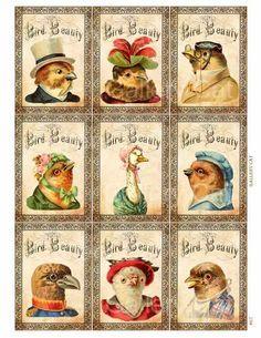 Victorian Bird Beauty Digital Collage Sheet Instant от GalleryCat