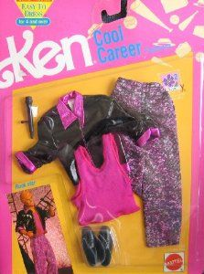"1991 Ken ""Cool Career"" Fashions ROCK STAR - Easy To Dress (Have pants & microphone)"