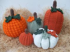 "Crochet a Pumpkin patch this year!!!! Pattern pack includes instructions for all 5 designs. Pumpkins range from 4 1/2"" tall - 10"" tall. They are all made from worsted weight yarn and each one features"