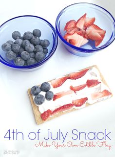 Here's a quick and easy patriotic snack for the 4th of July!Create your own edible flag with some delicious red, white and blue items from your kitchen! 500 Calories, Fourth Of July Food, 4th Of July, Fourth Of July Crafts For Kids, Thanksgiving Crafts, Memorial Day, The Birth Of Christ, Usa Tumblr, Patriotic Crafts