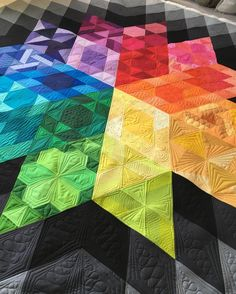 Finished this gorgeous #gravityquilt for Lisa Poncelet today.  Pattern is by…