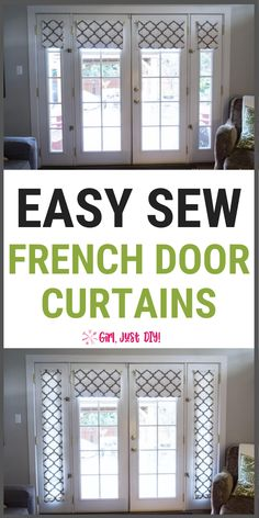 Sew your own custom French Door Curtain Panels that open and close. Full DIY tutorial with easy to follow steps to beautify your home. #girljustdiy #frenchdoorcurtains #easysewcurtains Custom French Doors, Diy Furniture, Diy Curtains, French Door Curtain Panels, Home, Decor Styles, Diy Home Decor, Cheap Apartment, French Door Curtains