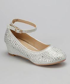 040907592fb Adorababy Silver Rhinestone Ankle-Strap Wedge