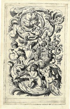 snakes, putti, monsters and plant vines in engraved grotesque etching