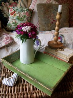 Antique tray with original worn green paint from Lavender House Vintage #vintage#antiques#home#decor#home#interiors