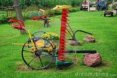 old farm equipment for yard decor | Farm Backyard Composition Royalty Free Stock Photos - Image: 15803778