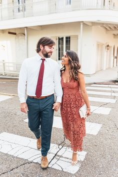 Haute Off The Rack, New Orleans blogger, Louisiana blogger, women's fashion, Engagement Pictures, Engagement Picture Ideas, What to Wear for Engagement Pictures, Rose Lace Midi Dress, Embellished Sandals, Zac Zac Posen Clutch, Zac Posen, Clutch, Crystal Y-Necklace,  Kendra Scott Earrings, Modern Slim Fit Trousers, Trim Fit Dress Shirt, Burgundy Tie, His and Her Engagement Outfits, Engagement Picture Hair Ideas, Wedding Inspiration, Kendra Scott Jewelry, Fall Fashion, Engagement Photo